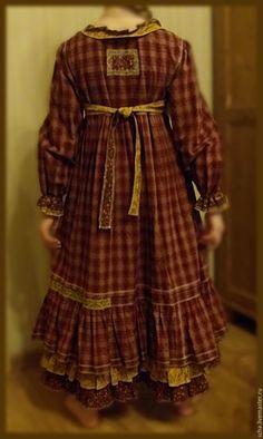 Купить Платье для девочки - бордовый, в клеточку, бохо, натуральные материалы, хлопок, девочка, хлопок 100%