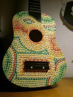 Painted mosaic miniguitar by Blanca Yañez. @YanezGuitars