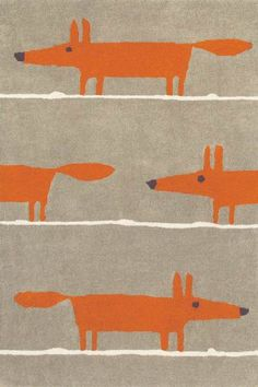 Mr Fox Rug - Scion Rugs - Liven up your living space with a gorgeous, quirky rug featuring the popular Mr Fox motif- the perfect way to add a friendly touch to a room. Contemporary Area Rugs, Modern Rugs, Modern Living, Modern Carpet, Wool Area Rugs, Beige Area Rugs, Wool Rugs, Shag Rugs, Cartoons