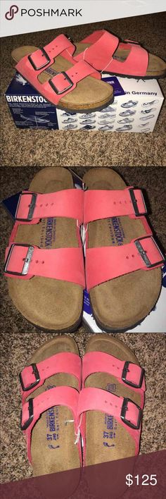 Birkenstock Arizona Sandals Bought these because I love them but they don't fit. Only tried on once and been sitting in the closet. The color is called coral. Narrow extra soft footbed. They have never been walked in at all. They are not my size and I'm only selling to buy the same pair in a bigger size. Birkenstock Shoes Sandals