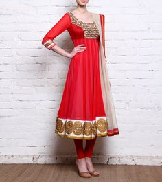 Red, Pink & White Panelled Georgette Anarkali Suit With Gota Work