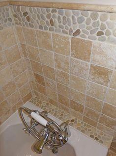 Polished White Pebble Tile Border | Pebble Tiles, White Pebbles And Tile  Ideas
