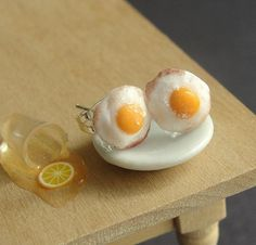 Polymer Clay Food Fried Egg Earrings