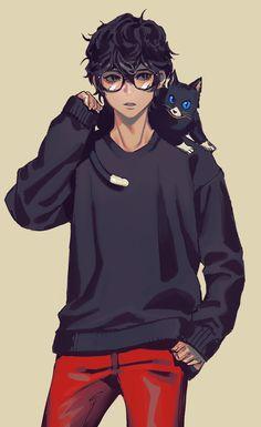 Artist: Pixiv Id 15796240 | Shin Megami Tensei: Persona 5 | Kurusu Akira | Morgana