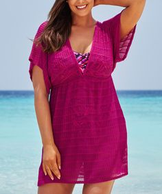 Look what I found on #zulily! swimsuitsforall Magenta Empire-Waist Cover-Up - Plus Too by swimsuitsforall #zulilyfinds