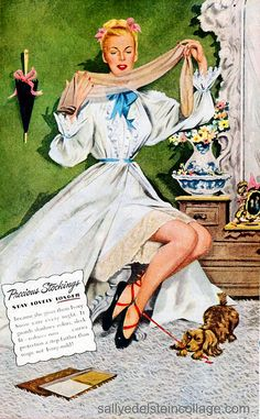 Vintage Lingerie And Dress — Caring For Your Delicate Nylons Vintage Fur, Vintage Beauty, Vintage Fashion, Vintage Stockings, Silk Stockings, Retro Lingerie, Women Lingerie, Vintage Images, Vintage Posters