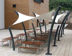 Canvas shade structure for public spaces MENDIP WALKWAY Base Structures