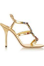 Dolce & GabbanaEmbellished metallic leather sandals