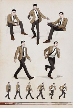 Man 1960s Dynamic poses. by ~javieralcalde on deviantART https://www.facebook.com/CharacterDesignReferences
