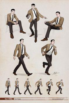 Man 1960s Dynamic poses. by ~javieralcalde on deviantART https://www.facebook.com/CharacterDesignReferences