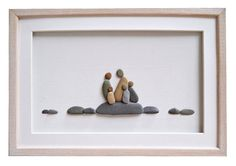 Family of five pebble art Fathers Day gift by PebbleArtDream