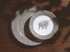 elephant dinner plate , dessert and charger.so jungle! (#safari, #out of africa, #jungle) Jungle collection, safari, , Dinnerware, porcelain, Africa, hand made,FRAGILE by Patricia Deroubaix.Limoges France