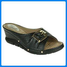 Frau Damen Gepolstert Komfort Stoßdämpfend Flexibel Massage Beiläufig  Schlüpfen Keilabsatz Schwarz Sandalen Schuhe Größe 41 -