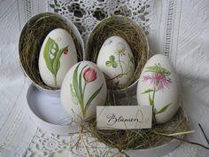 Gänseei with spring flower and insect - handbemalt Easter Egg Crafts, Easter Bunny, Easter Egg Designs, Ukrainian Easter Eggs, Diy Ostern, Grenade, Egg Art, Easter Table, Egg Decorating