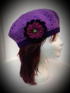 Licht paarse dames baret Crochet Hats, Boho, Fashion, Knitting Hats, Moda, La Mode, Bohemian, Fasion, Fashion Models