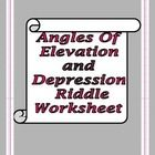riddle worksheet that covers angles of Elevation and Depression ...