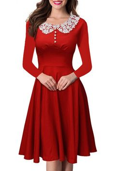 Vintage Peter Pan Collar Long Sleeve Lace Spliced Dress For Women
