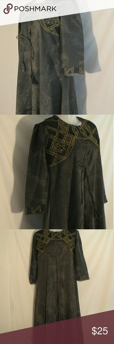 """Black Medieval Renaissance Gown Here's a nice looking black marbled pattern gown or costume that is in very good condition with only gentle wear. Has beautiful gold metallic stitching. Textured mech and chest area. Made by JK Jain. No stated size. Measurements are 21"""" chest, 16"""" shoulders, 42"""" length, 22"""" waist, 19"""" sleeve, 51"""" sweep. All measurements are taken with the garment laying flat. JK Jain Dresses Maxi"""