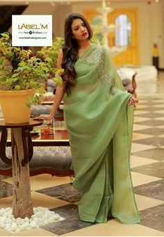 Brighten up the Summer with Label'M Spring Summer 2018 Saree collections! From Linen to Tussar, Label'M Saree Collection Offers a wide range of exquisite sarees in exciting colors. Sarees are very…More Cutwork Saree, Organza Saree, Khadi Saree, Cotton Saree, Saree Jacket Designs, Saree Blouse Neck Designs, Blouse Patterns, Saree Embroidery Design, Kurti Embroidery