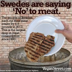 Veganism is growing all around the world. All the new vegans in Sweden are to be thanked (or blamed, if you're part of the animal agriculture industry) for the recent drop in the country's per capita meat consumption. http://veganstreet.com/dailymeme-3-8-18.html