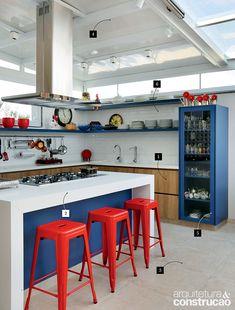 Pura inspiração: cozinha criativa tem cores vibrantes | Arquitetura e Construção