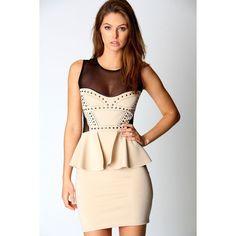 Amanda Mesh Sweetheart Neck Peplum Dress ($50) ❤ liked on Polyvore