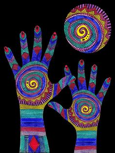 Hands Drawing - Aboriginal Hands To The Sun by Barbara St Jean Aboriginal Art For Kids, Aboriginal Symbols, Aboriginal Dot Painting, Dot Art Painting, Aboriginal Art Australian, Aboriginal People, Encaustic Painting, Hand Kunst, Kunst Der Aborigines