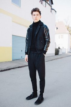 Acne Studios Acne Turtleneck, A Kind Of Guise Jacket, Cos Pants, Clarks Shoes