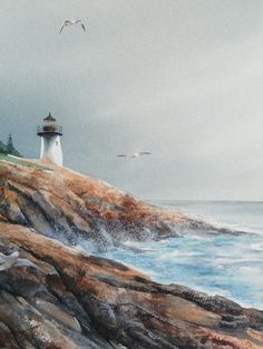 Watercolor painting of a lighthouse in Maine Watercolor Pictures, Easy Watercolor, Watercolor Artists, Watercolor Landscape, Watercolor Print, Watercolor Paintings, Watercolors, Lighthouse Painting, Guache