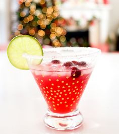 Drink It - A Festive Cranberry Margarita. Christmas, cocktail, dinner party, holiday, holidays, recipe.