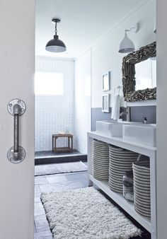 Nautical bathroom. Milk and Honey Home.
