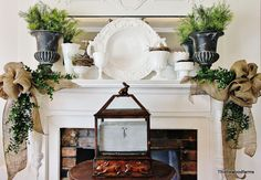Love this springy mantel with big beautiful burlap bows! @Thistlewood Farm