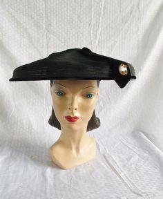 1950's Vintage New Look Black Sheer Wide Brim by MyVintageHatShop, $50.00