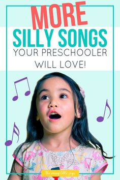 Music helps kids develop language, motor, and memory skills. Here are 10 more silly preschool songs that are great for getting wiggly kids learning and moving. Silly Songs For Kids, Movement Songs For Preschool, Preschool Music Activities, Songs For Toddlers, Fun Songs, Music For Kids, Songs To Sing, Preschool Learning, Kids Songs