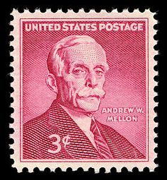 A 3-cent stamp commemorating the centennial of the birth of Andrew W. Mellon (1855-1937) was issued in Washington, DC, on December 20, 1955.