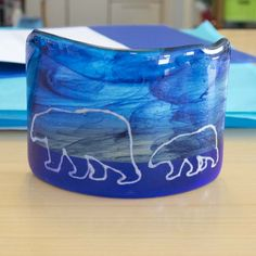 Fused glass - tea light with polar bears