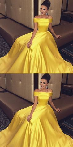 Off The Shoulder Long Satin Gold Prom Dresses Ball Gowns 2018 M1114 #longpromdresses