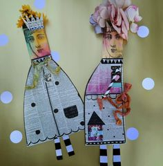Some whimsical paper dolls I made. Stamped  the head on a #1 size coin envelope and stuffed it with flowers.