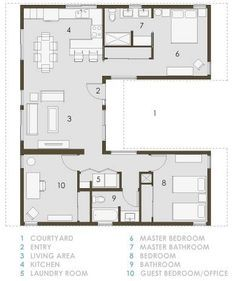 Wonderful Small Floorplan With Courtyard. Open Floor Small Home Plans