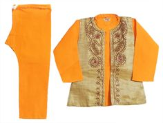 Saffron Kurta Pyjama with Sequin, Bead Work and Embroidered Tussar Beige Jacket (Cotton and Tussar)