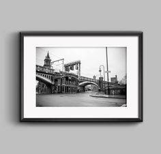 Black and white landscape photograph of Knott Bar / Manchester / urban / street / cityscape / wall art / home decor / photography