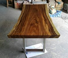 Slab Table, Bench Set, Outdoor Dining Furniture, Live Edge Table, Wood Slab, Acacia Wood, Types Of Wood, Furniture Makeover, Furniture Design