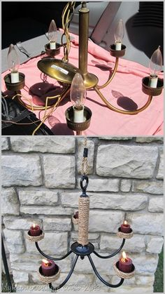 transform old chandelier into an outside patio chandelier with candles...
