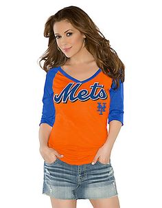 New York Mets Touch by Alyssa Milano Three-Quarter Sleeve Tee