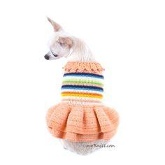 Melocotón perro vestido ganchillo hecho a mano encaje algodón