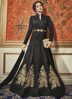 Black Art Silk Floor Length Designer Anarkali