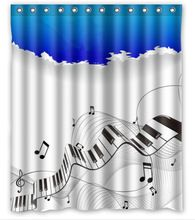 Free Shipping Music Note Custom Shower Curtain Home Decor Bathroom Waterproof Fabric Fashion Bath Curtain #SCN-043(China (Mainland))