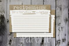 Instant Download Burlap Mason Jar Recipe For A Happy Marriage Card 4x6…