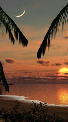 Naturaleza marina lua e sol ao mesmo tempo é sempre estranha de se ver, é mágico