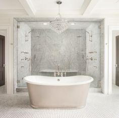 how to make a statement with marble | domino.com Two Person Shower, Two Person Tub, Bathroom Renos, Bathroom Interior, Washroom, Master Bathroom, Walk In Shower, Huge Shower, Double Shower